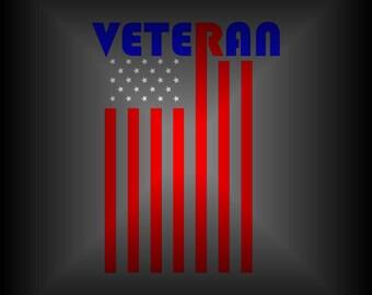 American Flag Car Decal - Veteran Decal - Military Decal - America Decal - Gift for Veteran - Vinyl Car Decal - Laptop Decal