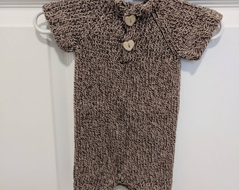 Organic bamboo knit baby romper with matching headband - 0-3 months