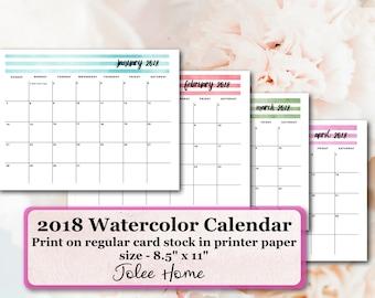Printable 2018 Calendar, 2018 Printable Calendar, 2018 Watercolor Calendar: 2018 Printable Watercolor Calendar