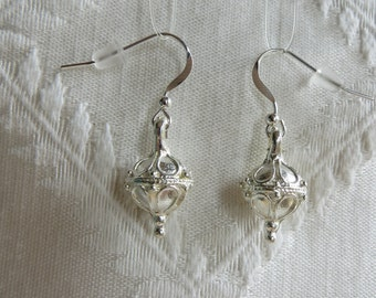 Silver Earrings with Ornate Circular Drop Charm, SE-273