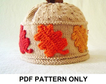 Hat Knitting Pattern - Fall Leaves Hat Pattern - the SCARLET Beanie (Newborn, Baby, Toddler, Child & Adult sizes incl'd)