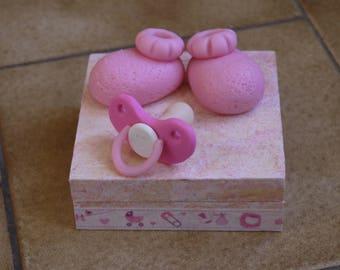 Birth keepsakes box, treasure box, pink jewelry box
