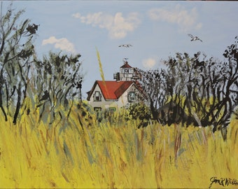 The old lighthouse,Stratford Point lighthouse in CT.11x14 acrylic on canvas panel