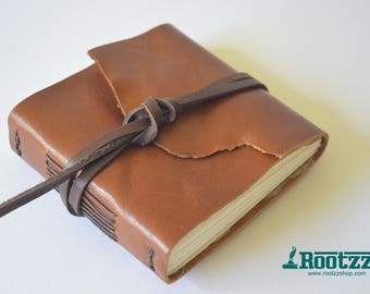 Leather hand bound journal with watercolor paper