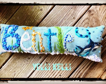 Boy Theme UP to FIVE Letters Freehand Embroidered Bohemian Letters Name Pillow Custom Made YelliKelli