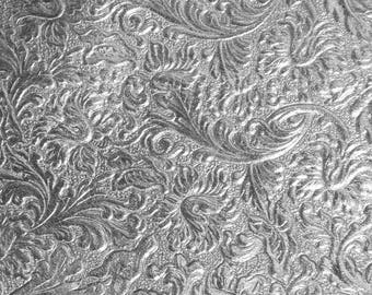 """Metallic Leather 8""""x10""""  Western SADDLE pattern SILVER embossed SOFT Cowhide fairly thin 2 oz/0.8 mm PeggySueAlso™ E2816-08"""