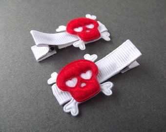 Red Skull Hair Clips Skull and Crossbones Halloween Hair Clips Rock N Roll Punk Hair Clips Day of the Dead Red Hair Clips White Hair Clips