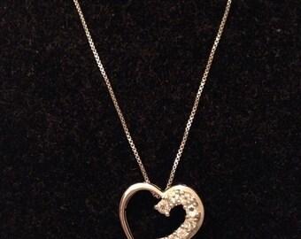 Vintage Sterling & Rhinestone Heart Necklace
