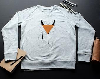 Fox Sweatshirt / / man / / women / / organic cotton / / organic ink / / gray / / Illustration Handmade / / geometric design / Linework /fox Sweatshirt