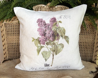 French Pillow. Lilac. Botanical Print Pillow. French Linen Pillow. Farmhouse Pillow Cover. Cottage Pillow. Gift for her.