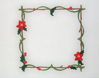 Poinsettia floral twig frame embroidered quilt label to customize with your personal message