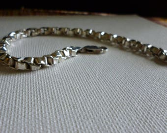Sterling Silver Italy Box Link Bracelet