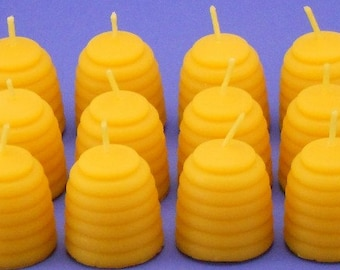 Large Bee Hive Tea Light Candles, One Dozen Large Beeswax Beehive Tea Light Candle Refills, Cute Little Bee Hives, 7 Hours Each