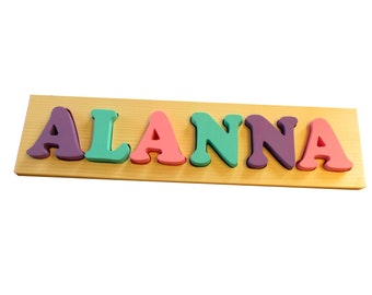 6 letter Solid Wood Toddler Name Puzzle - Solid Wood Custom Name Puzzle - 6 letter Solid Wood Personalized Name Puzzle for Toddlers