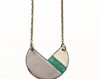 Enamel and Patina Geometric Necklace