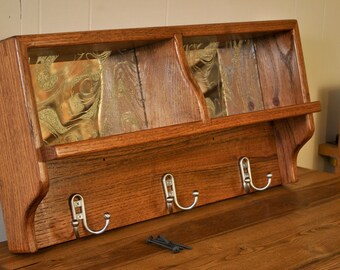 Red Oak wall coat rack with shelf
