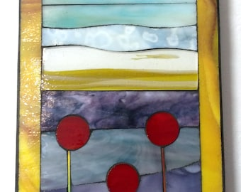 Abstract landscape stained glass wall art mosaic