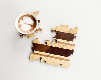 Wooden Coasters - Interlocking Puzzle Coasters - Geometric - Unique Gift - Wooden Gifts - Wood Puzzle - Home Decor - Set of 4 Coasters