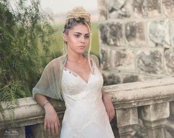 Wedding Bolero, Pistachio Glittering Pleated Shrug, Sparkling Shawl For Bride, Bridal wrap, Wedding Bolero Shrug, Sparkle Bridal Cover Up