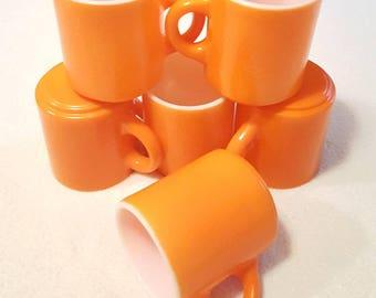 Vintage Orange Coffee Cup Mug Set