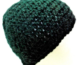 Green Black Wool Hat Skull Cap Mans Womans Crochet Knit Large Beanie Oversize Big Hair BoHo Soft Warm Retro Spring