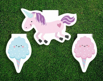 Magnetic Bookmark Set | Unicorn Cotton Candy Floss Bookmarks Magnet Pack of 3, Magnetic, Cute, Quirky, Food, Fair, Bookmarks, Kawaii.