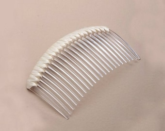 Hair comb Crystal 8 cm with ivory satin ribbon