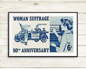 Feminist gifts, feminist posters, feminist art, woman suffrage, suffragette, women's right to vote, women's rights, women's issues, 1970