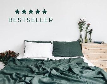 Emerald. 3-Piece linen bedding set. Linen duvet cover and 2 pillowcases. Dark green. US Full, US Queen, US King, Euro size