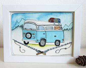 Art - Illustration - Original Art - Original Illustration - Outdoors Illustration - Van Art - Van Illustration - Let's Go Fishing