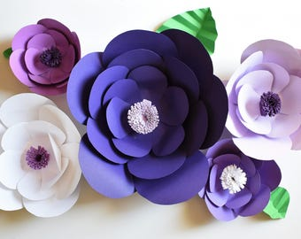 Purple Paper Flower Backdrop, Wall Flowers