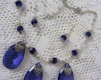 Royal blue and white statement necklace with earrings