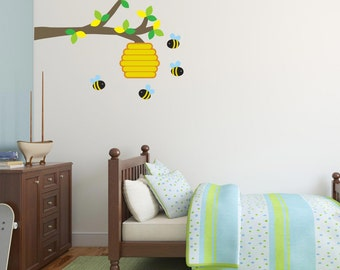 Childrens Bees and Bee Hive on Branch Wall Stickers, Bee Wall Decals, Branch Wall Art Transfer - Removable and Repositionable - FA040
