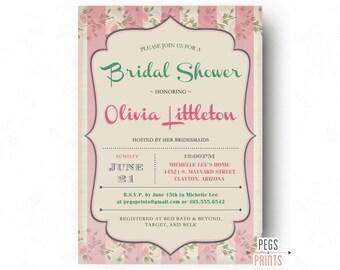 Floral Bridal Shower Invitation - Shabby Chic Bridal Shower Invitations - Printable Floral Wedding Shower Invitation - Summer Bridal Shower