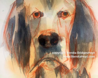 Droopy Dog, original mixed media, contemporary pet portrait, animal art, Texas artist