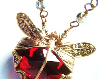 Ruby Red -Dragonfly Art Nouveau Antique Style Brass Filigree Necklace large jewel pendant heirloom quality filigree