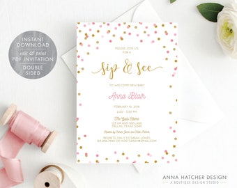 Sip and See Invitation for Baby Girl with Pink and Gold Glitter Polka Dots, Sip n See Invite, Bible Verse, DIY Editable PDF Template BABY6