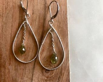 Faceted Green Garnet Drop Earrings, Sterling Silver
