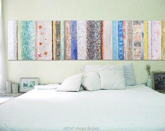 "Art CANVAS painting Wall Art, Modern abstract art 32 x 24"" x 1.5""each Wall Décor Set of 3 stripes Total size 96"" x 24"" Wall Decor Set of 3"