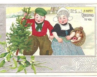 Vintage 1907 Postcard -  A Happy Christmas to you - used - Foil - Embossed