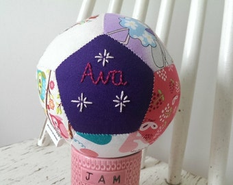Patchwork ball, hand embroidered gift, baby girl, christening gift, CE compliant, toy rattle, handmade in Ireland