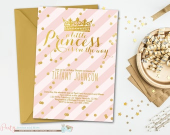 Princess Baby Shower Invitation, Pink and Gold Baby Shower Invitation, Baby Shower Invitation, Blush Pink and Gold Invitation