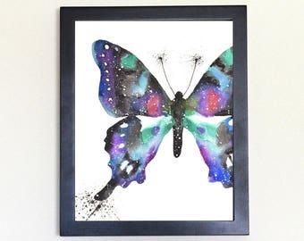 Butterfly Galaxy Spirit Totem Animal Art Print Watercolor 8x10