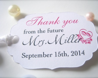 Bridal shower favor tags, thank you tags, party favor tags, small tags, future mrs., printed hang tags, bridal shower decor - set of 30