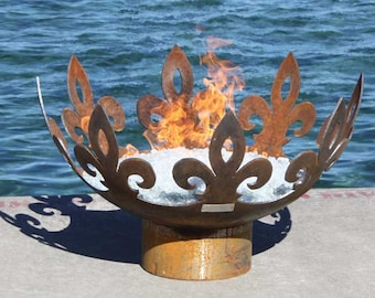 The Fiery Fleur-de-Lis 37 inch diameter Sculptural Firebowl
