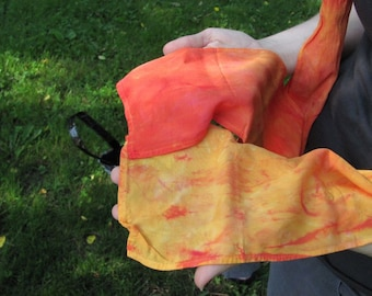 hand dyed rayon scarf in OOH FIRE