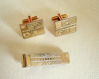 Gold Cufflinks Tie Clip Flower Design Leaf Design Arrow Design Vintage Jewelry Gifts for Him Cool Gift Men's Jewelry Birthday Gift Under 20