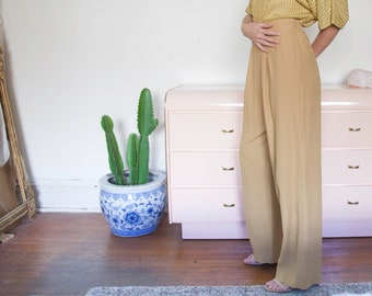 High Waisted Camel Front Pleated Pant