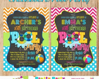 CHALKBOARD POOL PARTY invitation  - You Print