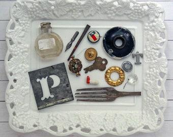 bITs KitS No041c -Texas flag pin, tin stencil, doll leg, chandelier crystal, fork tines, glass bottle, key, ink pen nib, square nail, brooch